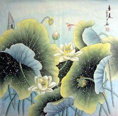 Chinese Lotus Painting,66cm x 66cm,2319004-x
