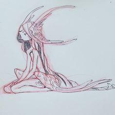 regram @denaesketch Moon wings