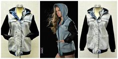 Gorgeous denim and vegan leather bomber now available at Vegan Leather, Military Jacket, Raincoat, Denim, Jackets, Fashion, Rain Jacket, Down Jackets, Moda