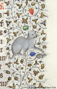 Cat and mouse, Hours of Charlotte of Savoy, Paris, France, ca. 1420-1425, f° 165r (detail)