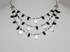 Black and Clear Teardrop Crystal necklace (408)