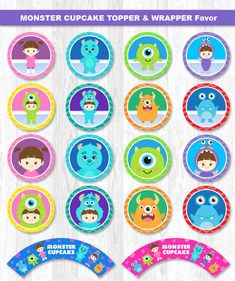 Monstruo Cupcake Topper Monster Inc Cupcake Topper por KidzParty