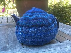 tea cosy knitted by me in hand spun and dyed from the Alice Springs Beanie Festival
