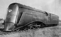 """The shrouding, finished in gun metal gray, was applied to """"Hudson"""" Locomotive 5344 in December, 1934. From a public relations standpoint, it was a smashing success–its photograph was everywhere, and crowds swarmed to view the new sensation."""