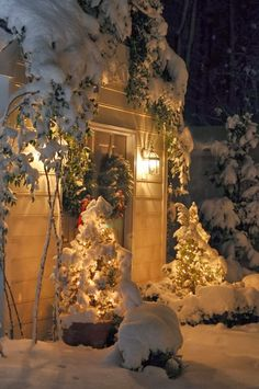 I love snow covered lights! Christmas Scenes, Noel Christmas, Winter Christmas, All Things Christmas, Christmas Lights, Christmas Decorations, Holiday Decor, Winter Snow, Winter Magic