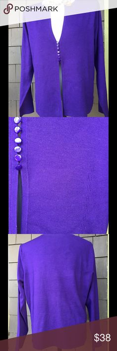 """Purple Talbots cardigan I like simple pretty and this fits the bill. The color is so pretty and I think the buttons add so much. If you look at the closeup of the buttons it shows this simple variation to the knit to the right at the button. Pair this over your lbd or with your jeans. 22""""p2p 25"""" long. Reasonable offers always considered. Talbots Sweaters Cardigans"""