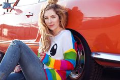 SO SO Happy Blog — @Meghan Camarena aka Youtube star Meghan Camarena in our white Lucky Sweater with rainbow sleeves.