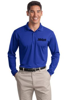 Sport-Tek Long Sleeve Micropique Sport-Wick Polo  $30.00  We've taken our Sport-Wick® moisture-wicking technology and crafted a flat tricot micropique for a smoother, tighter fabric. Not just a sharp look it's snag resistant, too.  3.8-ounce, 100% polyester tricot Snag resistant Tag-free label Taped neck Flat knit collar and cuffs 3-button placket with dyed-to-match rubber buttons Set in sleeves Side vents  Embroidered Melton Logo