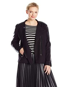 NYDJ Women's Plus Size Ponte Moto Jacket ** Want additional info? Click on the image.