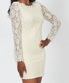 Another great find on #zulily! Beige Lace Crewneck Dress by Dream Positive #zulilyfinds