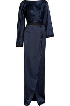 Amanda Wakeley Satin maxi dress   THE OUTNET