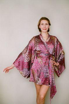 One Ready-made Noguchi kimono robe in satin.