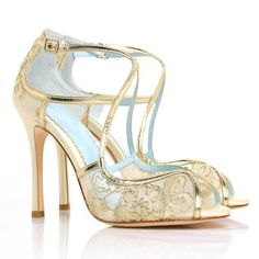 Bella Belle Wedding Shoes. Deco Glamour with contemporary styling. Gold lace adds stunning elegance to ivory silk bridal shoes.