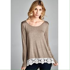 "Knit Top with Lace Trim 96% rayon 4% spandex. Size Medium: Laying flat, underarm to underarm is 18.25"". No trades. Tops"