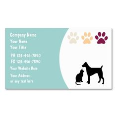 Pet Care Business Cards. Make your own business card with this great design. All you need is to add your info to this template. Click the image to try it out!