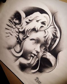 """""""Cherub Angel"""" (sketch)  Let them sleep and dream.....while i stay up late to live mine............. late night sketching even though we on these holiday breaks..ughyou know I still gotta put that work in! Good night everyone!!!! Done by: Tonez  @streetcitytattoos  by: @tony__tonez"""