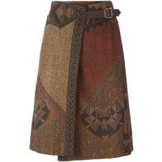 Etro Woven Wrap Skirt found on Polyvore featuring skirts, brown, brown skirt, woven skirt, etro and wrap skirt