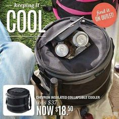 Attn FUN FRIENDS!!!  DEAL OF THE DAY! Was $37 now $18! Grab one before they sell out. The collapsible cooler, in black and grey chevron. I use this all the time! It holds TONS of can's, (tall enough for wine bottles too) BUT it holds my rockcrok and I use it to carry it full of food to potlucks etc. You can also carry cold items, and it's tall enough to carry 2 bowls separated with a piece of cardboard. IT'S LEAKPROOF!