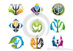 Psychology concept logo design man and woman face in a set