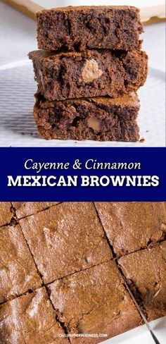 Mexican Brownies - A slightly spicy chocolate dessert. This fudge brownie recipe has cinnamon and cayenne for a little spiciness and heat. Mexican Dessert Recipes, Brownie Recipes, Winter Desserts, Sweet Desserts, Spicy Recipes, Sweet Recipes, Yummy Recipes, Cinnamon Desserts