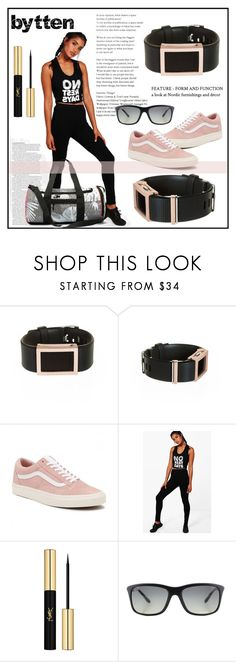 """Madison frame satin rose gold Fitbit Charge #3"" by miranda-993 on Polyvore featuring Vans, Boohoo, ASOS, Yves Saint Laurent, Ray-Ban and bytten"