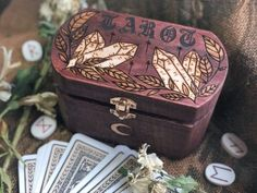 Boxes and Trays Blackbird Haus on Etsy See our or tags Wood Burning Crafts, Wood Burning Art, Wood Crafts, Skyrim Crafts, Jar Spells, Eclectic Witch, Witch Art, Diy Box, Pyrography