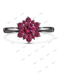 Flower Shape Round Pink Sapphire Engagement Ring in 14K Black Gold FN 925 Silver #Affoin8 #FlowerShapeEngagementRing