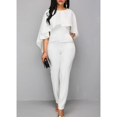 Rotita Zipper Closure White Open Back Jumpsuit ($37) ❤ liked on Polyvore featuring jumpsuits, white, white jump suit, jump suit, white jumpsuit, zipper jumpsuit and print jumpsuit