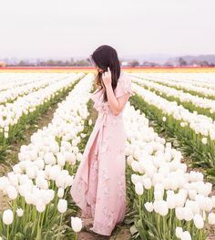 Skagit Valley tulip fields, white tulips, floral maxi dress, summer fashion, Seattle fashion blogger