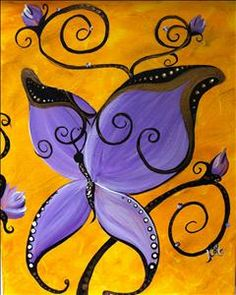 Lupus Foundation Of America - Everyone Invited - Sarasota, FL Painting Class - Painting with a Twist Purple Painting, Butterfly Painting, Light Painting, Painting & Drawing, Gouache Painting, Easy Paintings, Animal Paintings, Wine And Canvas, Acrylic Painting For Beginners
