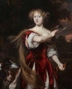 Nicolaes Maes (Dordrecht 1634 – Amsterdam , Portrait of a Lady as Diana Potrait Painting, Greyhound Art, Baroque Art, Dutch Golden Age, Virtual Art, Diane, Dutch Painters, Old Master, Renaissance Art