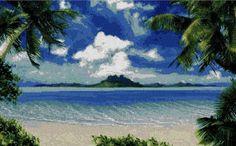 Patrón Punto de cruz Playa Exótica por Leticreaciones en Etsy