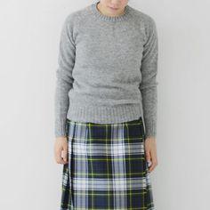 grey shetland wool crew neck sweater