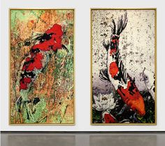 Kois paintings by Carlos Kubo. 160x90cm. mixed media/acrylic on canvas. A carpa subindo, significa força para alcançar os objetivos, determinação em superar um obstáculo e  descendo, significa que os objetivos foram alcançados.