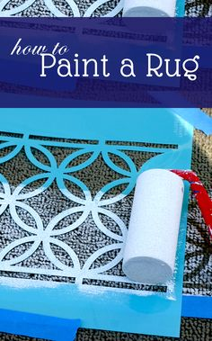 """DIY~ How To Paint A Rug. dorms, kid's rooms, etc. Add """"your"""" design to any plain, inexpensive rug! Painted Rug, Painted Floors, Painted Floor Cloths, Tapetes Diy, Inexpensive Rugs, Ikea I, Ideas Hogar, Do It Yourself Home, Rug Making"""