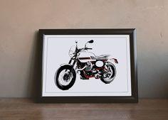 Moto Guzzi Stornello - Illustration by MSaHomeDesign on Etsy