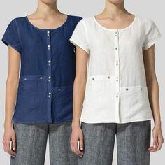 5811dcc4 Women Cotton Blouses Summer Tops Short Sleeve Casual Asymmetrical Buttons Shirts  Plus Size