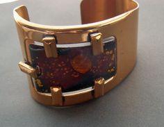 Vintage Modernist Mid Century Matisse Copper Enamel Bold Cuff Bracelet #Matisse #Cuff