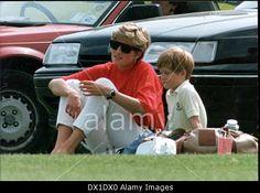 Princess Diana And Prince Harry At Polo Match At Stock Photo