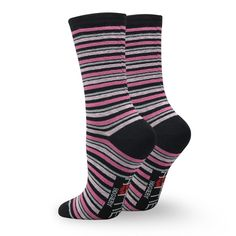 MADE IN USA -Hottie Hosiery Stripe Women's Crew Socks (One Size, Pink Black Grey)