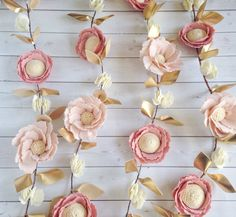 This gorgeous handcrafted felt flower garland is made with soft pink and cream tones with a touch of gold. Its one of our most popular designs and is a perfect addition to any pink and gold event or nursery! PRODUCT DETAILS This garland is created with high quality wool blend felt. The garland consists of light pink peonies, slightly darker blush pink posies, and cream wild flowers. Gold leaves add the perfect touch to this stunning garland. You can choose from the following lengths: 3 ft…
