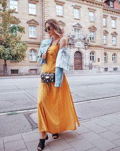 Sunshine Polka Dots Maxi Dress As worn on Polka Dot Maxi Dresses, German Fashion, Date Outfits, Giveaway, Yellow Dress, Lace Skirt, Polka Dots, Skirts, Cotton