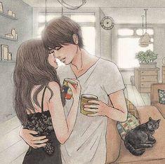 Musmutlu Illustrating the beauty of being in love - Anime Art Art Love Couple, Anime Love Couple, Love Art, Couples Comics, Anime Couples, Couple Illustration, Illustration Art, Character Illustration, Couple Drawings