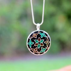 Ethnic enamel painted pendant in sterling silver. by KevaDesigns, $22.00