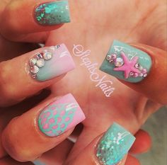 Pretty Ocean Nails via Ocean themed nail arts are widespread all the 12 months round. The ocean manicure brings a contemporary vibe to your nails by utilizing blue polish pr. Fancy Nails, Love Nails, Pretty Nails, My Nails, Ocean Nail Art, Beach Nails, Mermaid Nails, Cute Nail Art, Halloween Nail Art