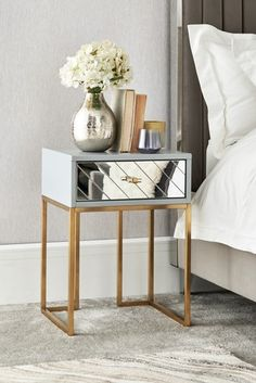 Buy Kirah Bedside Table from the Next UK online shop Siena, Next Mirrors, Mirror Bedside Table, Paint Effects, Grey Paint, Next Uk, Furniture Collection, Mattress, Drawers