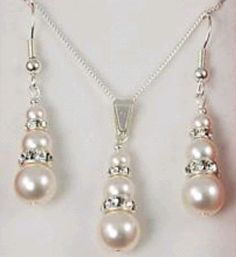 Turn Upcharm Bridal Southsea White Shell Pearl Pendant Necklaces Earrings Sets