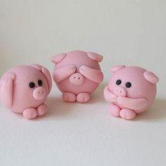 Ideas For Cake Fondant Cute Fimo Cute Polymer Clay, Polymer Clay Animals, Cute Clay, Fimo Clay, Polymer Clay Projects, Polymer Clay Charms, Polymer Clay Creations, Clay Crafts, Fondant Animals