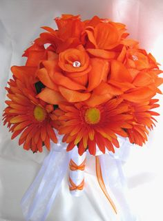 I want this but in fuschia! Wedding bouquet Bridal Silk flowers  RED ORANGE by Rosesanddreams, $215.99