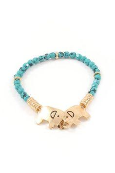 Gold & Turquoise Elephant Bracelet